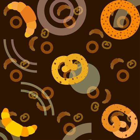 Bakery bread and pastries, bagel and croissant. Vector illustration  イラスト・ベクター素材
