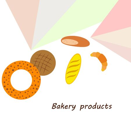 Bakery products banner, vector illustration. Wheat bread, pretzel, croissant