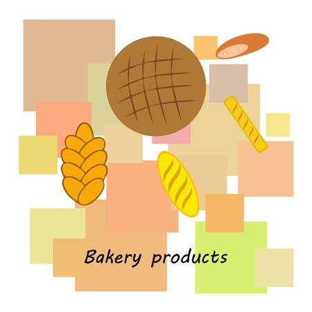 vector illustration of Bakery Product Food Collection Archivio Fotografico - 129700754