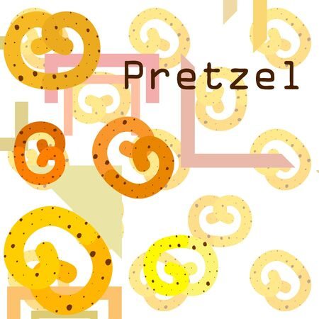 Pretzel Traditional baking. Illustration for the holiday Oktoberfest. Germany. Munich. Snack to beer. Cafe. Snack Bar. Bread. Bakery.