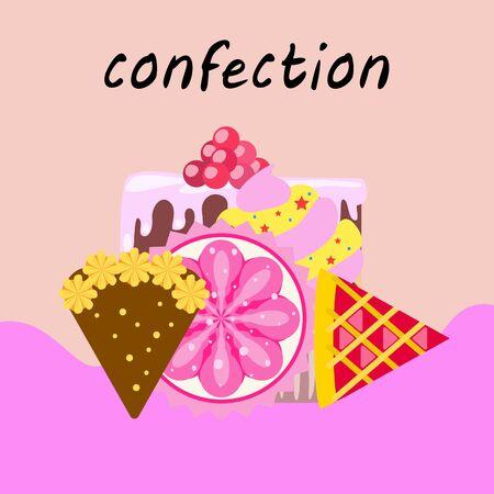 Confectie vector set. Taarten en koekjes illustratie