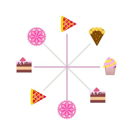 Confection vector set. Cakes and cookies illustration Stock fotó - 129555554