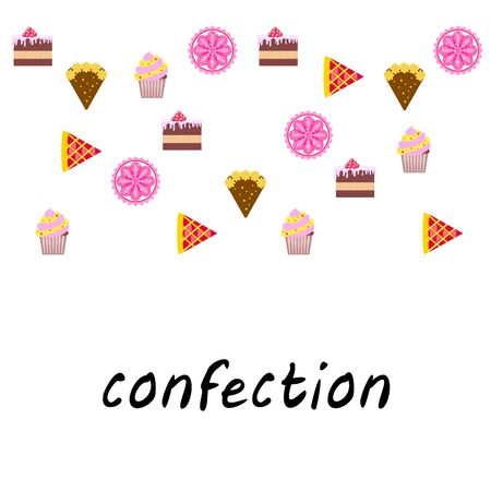 Confection vector set. Cakes and cookies illustration Stock fotó - 129555562
