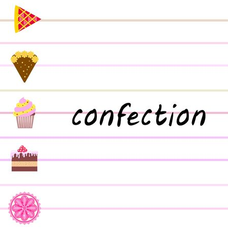 Confection vector set. Cakes and cookies illustration Stock fotó - 129555566