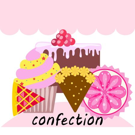 Confection vector set. Cakes and cookies illustration Stock fotó - 129555574