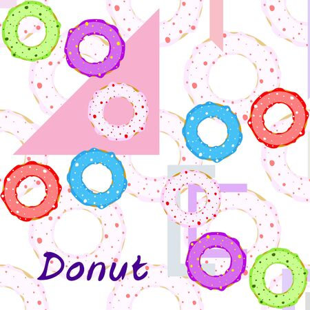 Donuts with pink, chocolate, lemon, blue mint glaze. Vector background.