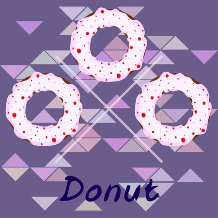 Donuts with pink, chocolate, lemon, blue mint glaze. Vector background. Stock fotó - 129560255