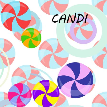 Colorful lollipops on pastel background in flat style design. Vector background cute candy. Stock Illustratie