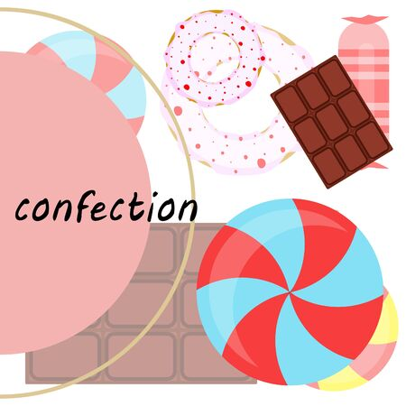 Different sweets colorful background. Lollipops, chocolate bar, candies, donut, vector background. Stock fotó - 129524321