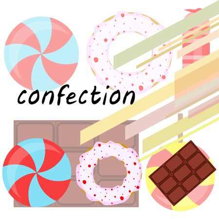 Different sweets colorful background. Lollipops, chocolate bar, candies, donut, vector background.