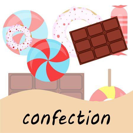 Different sweets colorful background. Lollipops, chocolate bar, candies, donut, vector background. Stock fotó - 129524333