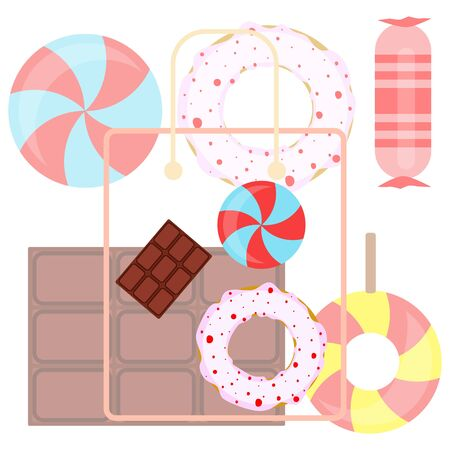 Different sweets colorful background. Lollipops, chocolate bar, candies, donut, vector background. Stock fotó - 129506790