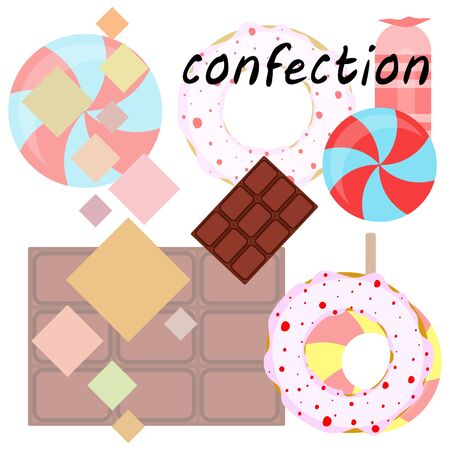 Different sweets colorful background. Lollipops, chocolate bar, candies, donut, vector background. Stock fotó - 129506788