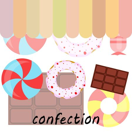 Different sweets colorful background. Lollipops, chocolate bar, candies, donut, vector background. Stock fotó - 129506795