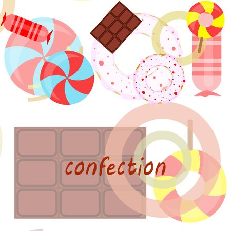 Different sweets colorful background. Lollipops, chocolate bar, candies, donut, vector background. Stock fotó - 129506801