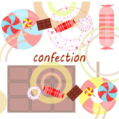 Different sweets colorful background. Lollipops, chocolate bar, candies, donut, vector background. Stock fotó - 129506803