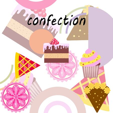 Confection vector set. Cakes and cookies illustration Vector Illustratie