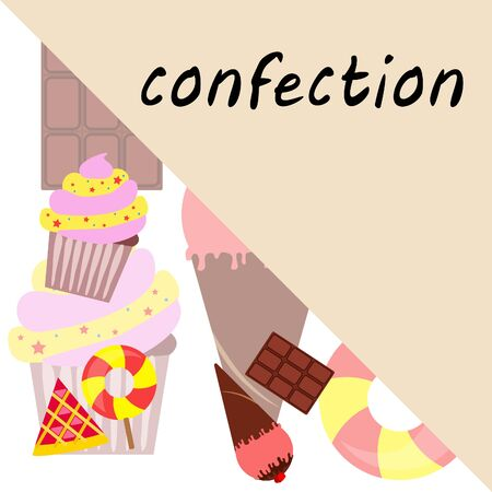 Cakes, pies and desserts vector icons of fruit cupcake and chocolate glaze, ice cream. Set for bakery shop, pastry and patisserie or confectionery. Illustration