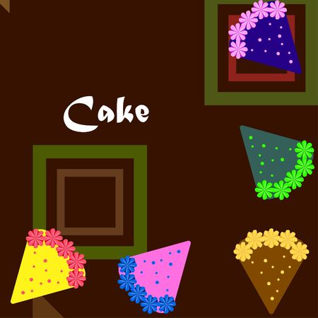 Birthday cake and chocolate cake, cut slice. Vector illustration Illusztráció
