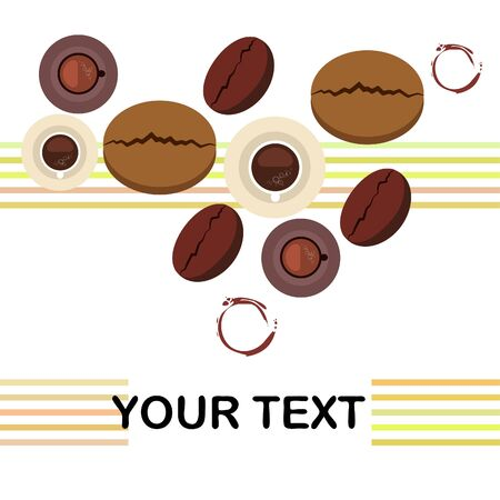 Coffee cup, coffee grains, breakfast concept. Drinks menu for restaurant, vector background. Illustration
