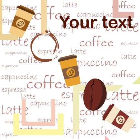 Coffee cup, coffee grains, breakfast concept. Drinks menu for restaurant, vector background. Ilustração