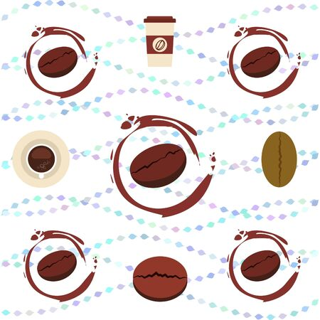 Cup of coffee and coffee grain. Abstract vector background.