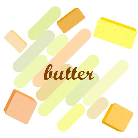 Vector yellow stick of butter. Slices of margarine or spread, fatty natural dairy product. High-calorie food for cooking and eating. Banco de Imagens - 129502710