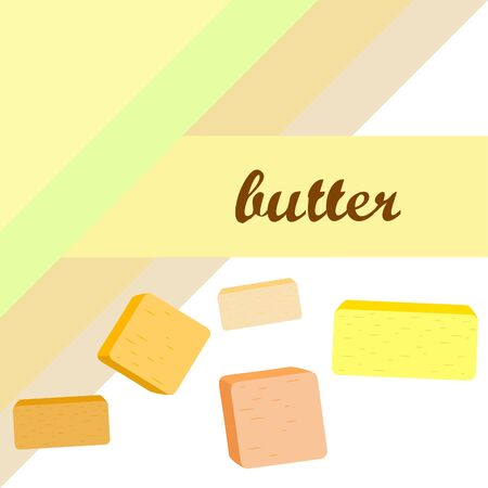 Vector yellow stick of butter. Slices of margarine or spread, fatty natural dairy product. High-calorie food for cooking and eating. Banco de Imagens - 129502711