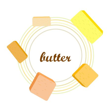 Vector yellow stick of butter. Slices of margarine or spread, fatty natural dairy product. High-calorie food for cooking and eating. Banco de Imagens - 129502708