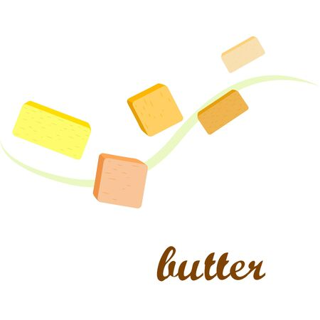 Vector yellow stick of butter. Slices of margarine or spread, fatty natural dairy product. High-calorie food for cooking and eating. Banco de Imagens - 129524694