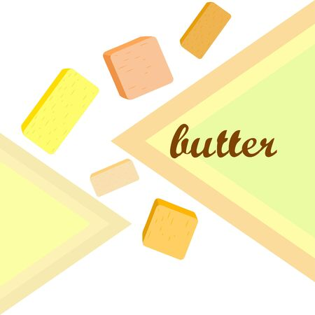 Vector yellow stick of butter. Slices of margarine or spread, fatty natural dairy product. High-calorie food for cooking and eating. Banco de Imagens - 129524697