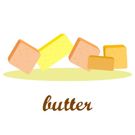 Vector yellow stick of butter. Slices of margarine or spread, fatty natural dairy product. High-calorie food for cooking and eating. Banco de Imagens - 129524698