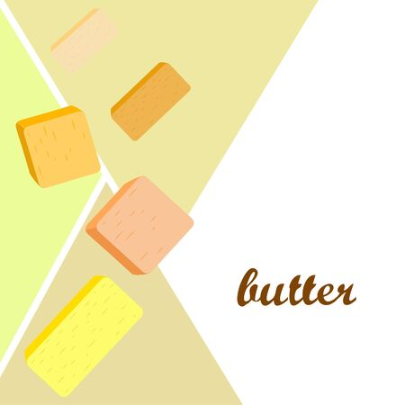 Vector yellow stick of butter. Slices of margarine or spread, fatty natural dairy product. High-calorie food for cooking and eating. Banco de Imagens - 129524700