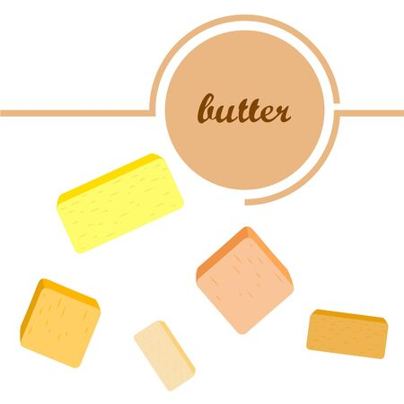 Vector yellow stick of butter. Slices of margarine or spread, fatty natural dairy product. High-calorie food for cooking and eating. Banco de Imagens - 129524701
