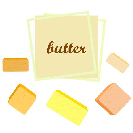 Vector yellow stick of butter. Slices of margarine or spread, fatty natural dairy product. High-calorie food for cooking and eating. Banco de Imagens - 129524702
