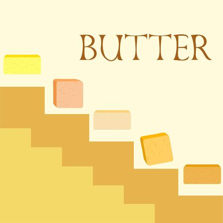 Vector yellow stick of butter. Slices of margarine or spread, fatty natural dairy product. High-calorie food for cooking and eating. Banco de Imagens - 129524705
