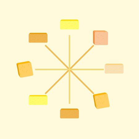Vector yellow stick of butter. Slices of margarine or spread, fatty natural dairy product. High-calorie food for cooking and eating. Banco de Imagens - 129502744