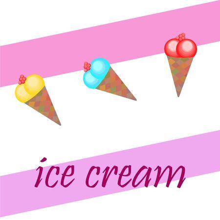 Sweet cartoon ice cream. Vector colorful ice creams. Ilustração