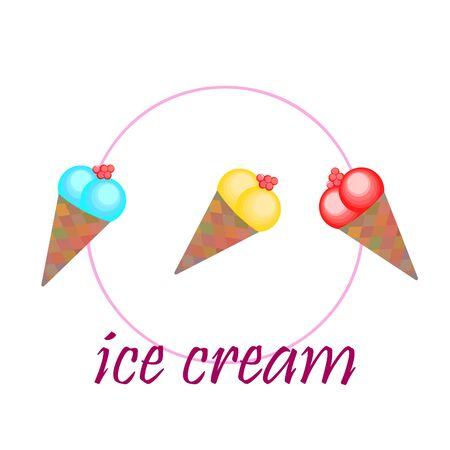 Sweet cartoon ice cream. Vector colorful ice creams. Illusztráció