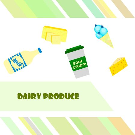 Milk, sour, cheese, ise, cream, butter. Vector illustration of dairy products.