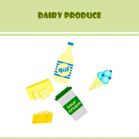 Milk, sour, cheese, cream and butter vector illustration of dairy products. Çizim