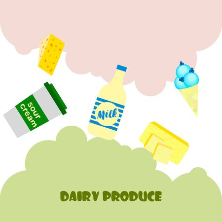 Milk, sour, cheese, cream and butter vector illustration of dairy products. Illustration