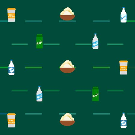 Milk, sour, kefir, cottage, cheese. Vector illustration of dairy products. 版權商用圖片 - 129986456