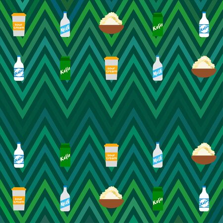 Milk, sour, kefir, cottage, cheese. Vector illustration of dairy products. 版權商用圖片 - 129988030