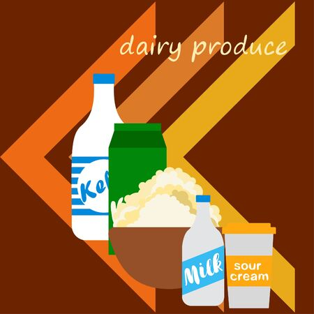 Milk, sour, kefir, cottage, cheese. Vector illustration of dairy products. 版權商用圖片 - 129988493