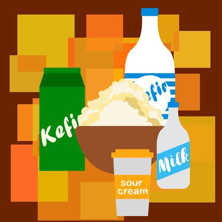 Milk, sour, kefir, cottage, cheese. Vector illustration of dairy products. 版權商用圖片 - 129988497