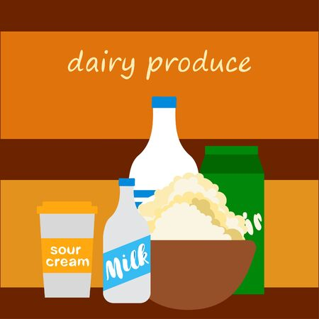 Milk, sour, kefir, cottage, cheese. Vector illustration of dairy products. 版權商用圖片 - 129988498