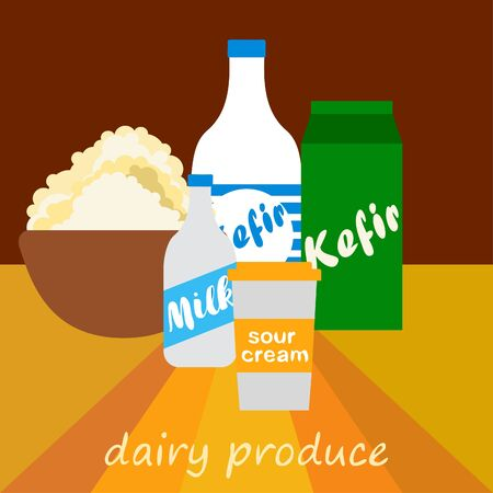 Milk, sour, kefir, cottage, cheese. Vector illustration of dairy products.