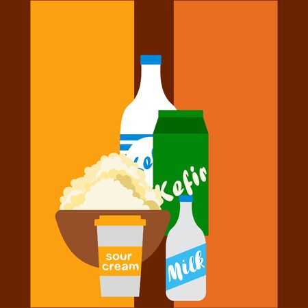 Milk, sour, kefir, cottage, cheese. Vector illustration of dairy products. 版權商用圖片 - 129988511