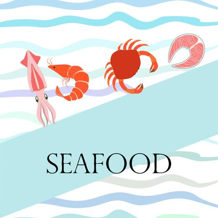 Fish, shrimp, crab, squid.Vector seafood. Food and restaurant design.